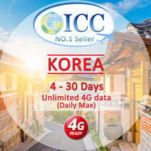 ◆ ICC◆【Korea Sim Card 4-25 Days】Unlimited 4G data(No slow Speed) (Daily Max)❤ 4GLTE+Unlimited data