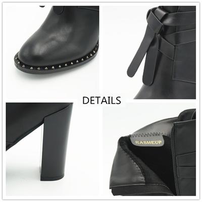 f1dbb3c646b6 RASMEUP Winter Women s Rivet Buckle Gothic Punk Ankle Boots Black Women High  Heel Martin Boots