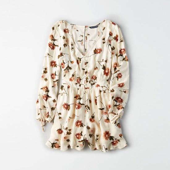 アメリカンイーグル女性フローラルフリルVネクつなぎAFMR3EC2066A 106AFM 面ワンピース/ 韓国ファッション