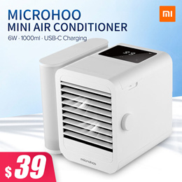 MICROHOO 6W 1000ml Water Capacity Mini Air Conditioner Touch Screen Adjustment Energy Saving Low Noi