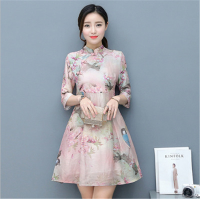 New Chinese Traditional Printed Long Cheongsam Dress Qipao Wedding Dress Women Oriental Dresses
