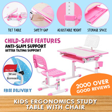 FREE 6 Months Warranty Children Ergonomics Study Table and Chair Newly Added Features Kids Table