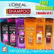 [FREE SHIPPING for 3] LOREAL Elvive Shampoo 400ml - 7 Types - Nourishing Oil / Keratin Straight
