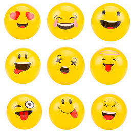 12x Inflatable Emoji Beach Balls Soft Ball KidsAdult Water Play Pool Party Toy
