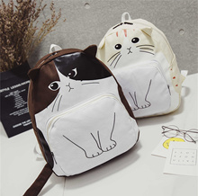 Lovely Cat Printing Backpack Women Canvas School Bags travel backpack For Teenagers