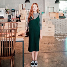 KNIT Korean Style Straight Line Sleeveless Knit Dress Pinafore (Black/Green)