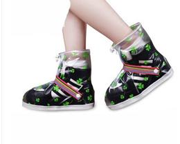 Transparent slip waterproof rain shoe wear shoe covers rain thickened printing shoe 62805