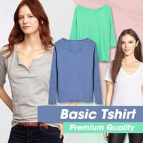 New! Women Basic T-shirt 4 Style / Short Sleeve  V-Neck - C-Neck / T-shirt wanita