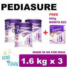 PEDIASURE TRIPLE PACK FREE 600G (3x1.6KG) - VANILLA  MILK FORMULA ★MADE IN SINGAPORE FOR MALAYSIA★