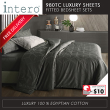 Intero Egyptian Cotton 980TC Quilt Cover with Bedsheet Pillow Case Bolster Case Set