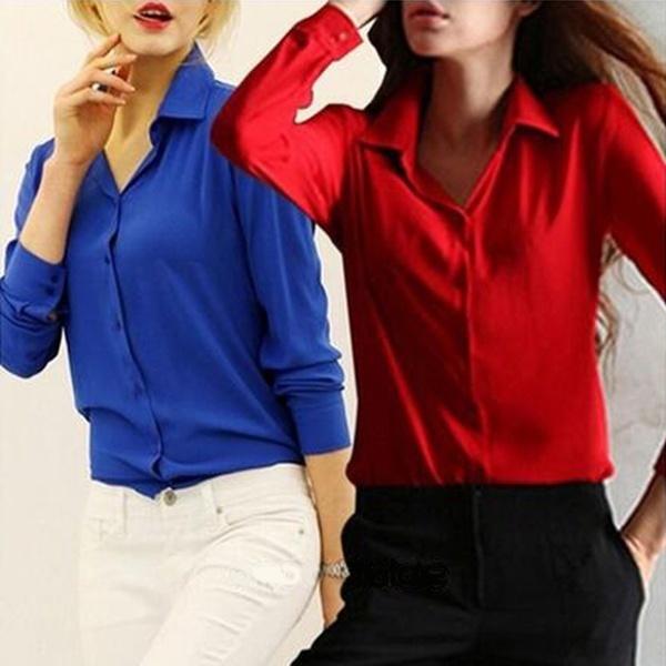 ファッション女性レディースロングスリーブシフォンスリムOLキャリアTシャツブラウストップス