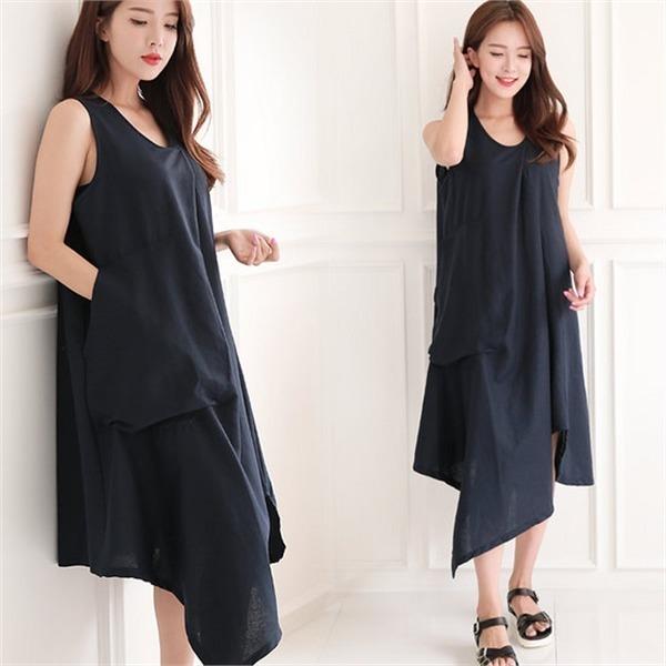 ソビンオンバルロンス死線リンネン、袖なしのワンピース4カラー澤クォン・スンテク1SBCHNnew プリントワンピース/ワンピース/韓国ファッション