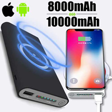 10000mAh QI Wireless Charger Portable Power Bank for Iphone X/8/7/6s Samsung Galaxy S6 S7 2 in 1
