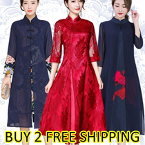 ▶▶NEW Modern Cheongsam/Traditional Costume/Qipao/PLUS SIZE Dress/CNY/Embroidery SILK DRESS
