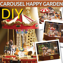 【MUSICAL CAROUSEL Happy Garden】★ Merry go round ★ Musical ★ Miniature DIY doll house