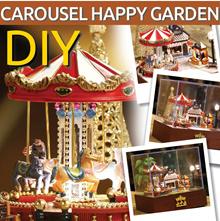 【MUSICAL CAROUSEL Happy Garden】★ Merry go round ★ Musical ★ Miniature DIY doll house