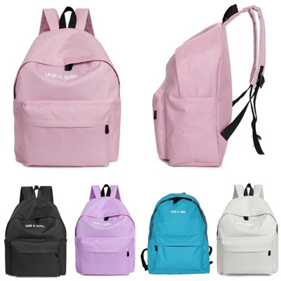 96bfb4aa37 Attractive 1PC Boys Girls Unisex Canvas Rucksack Backpack School Book  Shoulder Bag Color Pink