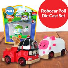 Mainan Anak Robocar Poli Die Cast 1 Sett ( Poli Biru-Roy Merah-Helly Hijau-Amber Pink)
