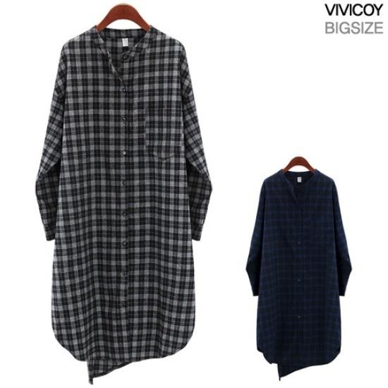 ビビ己斐チェックの後の開けたこと、ワンピースSM 綿ワンピース/ 韓国ファッション