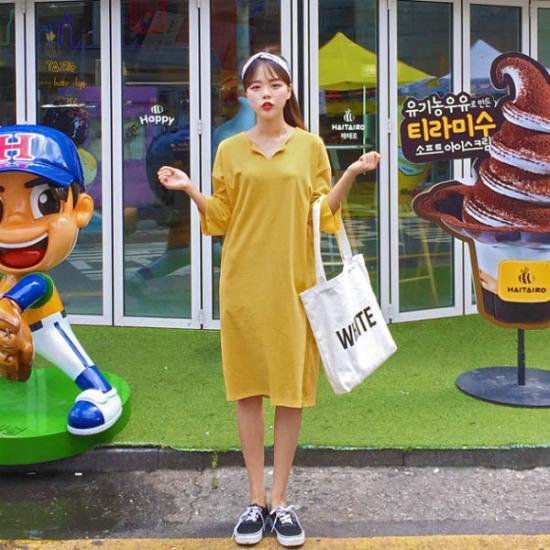 あっかんべーショップ開けたことロングOPS 綿ワンピース/ 韓国ファッション