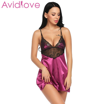 99974953a0df6 Avidlove Night Dress Women Sleepwear Nightgown Sexy Satin Chemise Women  Lace Patchwork Sleepwear wit