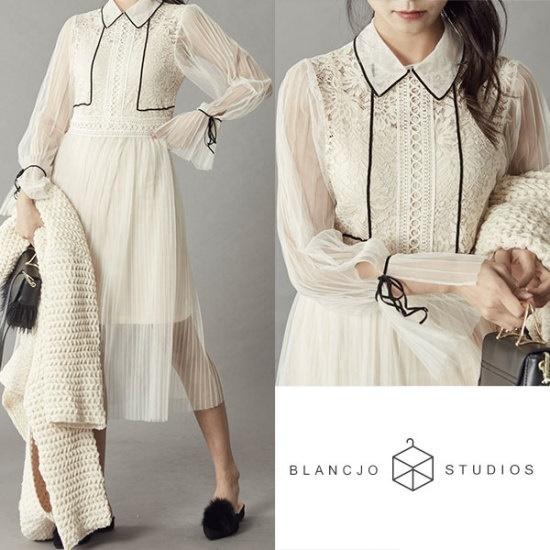 ブルランチョシースルー・マッシュワンピースセットop01824 シフォン/レースのワンピース/ 韓国ファッション