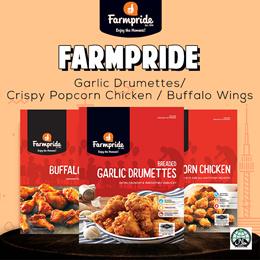 FP Buy 2 Free 1 Garlic Drumettes 350g / Crispy Popcorn Chicken 400g / Buffalo Wings 450g