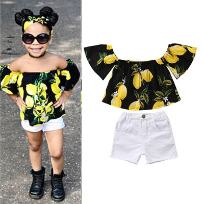 d85d566782e Toddler Baby Kids Girls Summer Clothes Off Shoulder Tops Lemon T-shirt  +Shorts Outfits