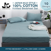 【Local Seller】100% Cotton Knitted Bedsheet set/Japan Muji style  inside (Pillow case / Fitted Sheet)