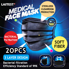 Fashionable Black Medical Mask Disposable (Bacterial filtration Efficiency Standard of 99%) 5pcs/pkt