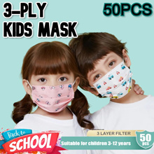[50pcs/pack] NO.1 3-PLY Disposable Face Kids Mask/kids mask //50pcs per pack/IN STOCK / Box Pack