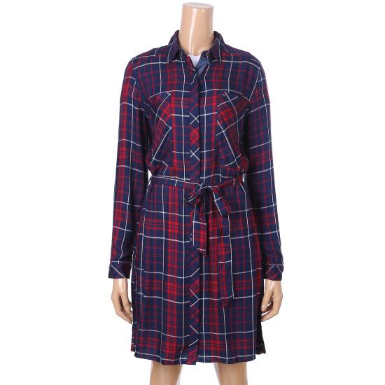 トミー・ヒルフィガーデニム女性マルチチェックパターンシャツ、ワンピースTUMR3OZE43A0 面ワンピース/ 韓国ファッション
