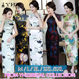 New Arrives Happy New Year QiPao Cheongsam Dress Party Dress Floral Print Sleeves Lady Dress