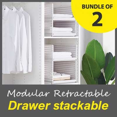 +Free Gift  ▶SG INSTOCK◀  ★Modular Retractable Drawer Shelf ♦ Strong And Durable ♦ 100% Virgin PP