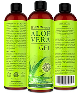 [SEVEN MINERALS] Organic Aloe Vera Gel - NO XANTHAN, so it Absorbs Rapidly with No Sticky Residue -