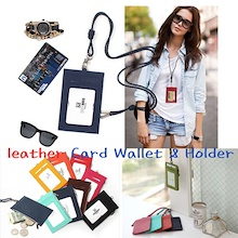 Leather Card Wallet Card Holder Leather Card Holder ID Card Neck Badge Holder Lanyard Neckstrap