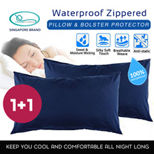 1+1 Waterproof Zippered Pillow and Bolster Protector/Case (100% Waterproof) Breathable Comfortable