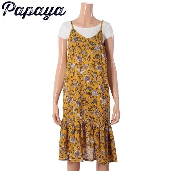 パパイヤフラワークンなしワンピースCNHROP011B シフォン/レース/フリル/ 韓国ファッション