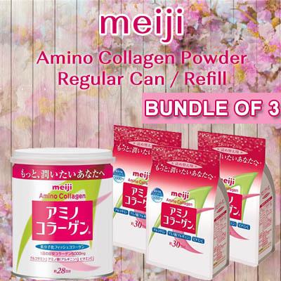 ☆10.10 Event☆3 packs☆ Meiji Amino Collagen Powder Regular Can / Refill