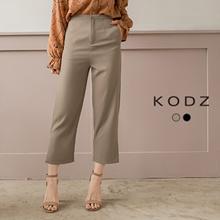 KODZ - Plain Button Front Slit Hem Straight Pants - 182595