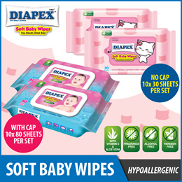 [SCANPAP] DIAPEX SOFT BABY WIPES. 10 packs X 30 WIPES. 10 packs X 80 WIPES. NO ALCOHOL AND PARABEN.