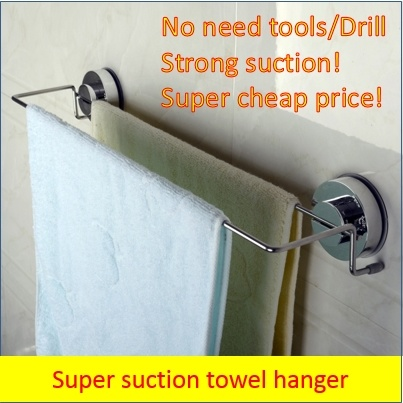 Bath Towel Hanger Suction Cup Holder Super Diy Shelf No Drill