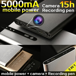 5000MA Power Bank  3 in1 USB Cable Spy Hidden Camera Motion Detection Night Vision 1080P DVR