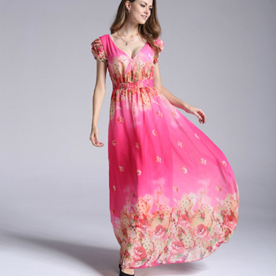 TUHAO 2018 Summer Bohemian Long Dresses Maxi Plus Size 7XL 6XL 5XL Elegant  Chiffon Floral Short cb04c2fd6e25