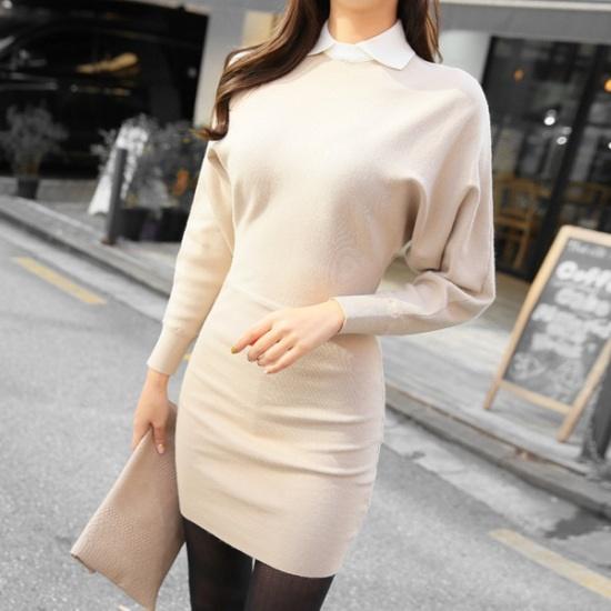 スィジュコムイン香織カラワンピースとてもワンピースニット・ワンピーススリムワンピース 綿ワンピース/ 韓国ファッション