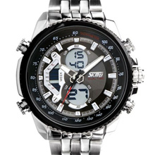 SKMEI 0993 Jam Tangan Pria S-Shock Dual Time With Box Skmei - Silver Hitam