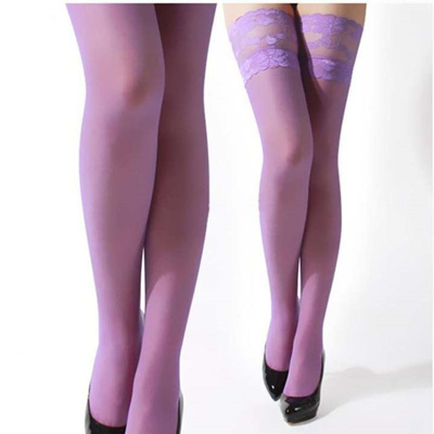 f15d4217e LALANG Sexy Women Lace Top Sheer Thigh High Stockings Pantyhose Hosiery  Purple