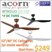 Acorn Intaglio DC-159 DC motor 52/ 40 inch Ceiling fan with 22W 3 tone led