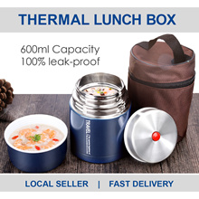 Thermal Insulated Stainless Steel Lunch Box Set Vacuum Insulation With Lunch Bag 600ml Leak Proof
