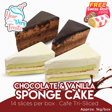 [YourVeryTreatz] - Vanilla/Chocolate sponge cake (14pcs/box) [Cafe Tri-sliced] + Free Delivery